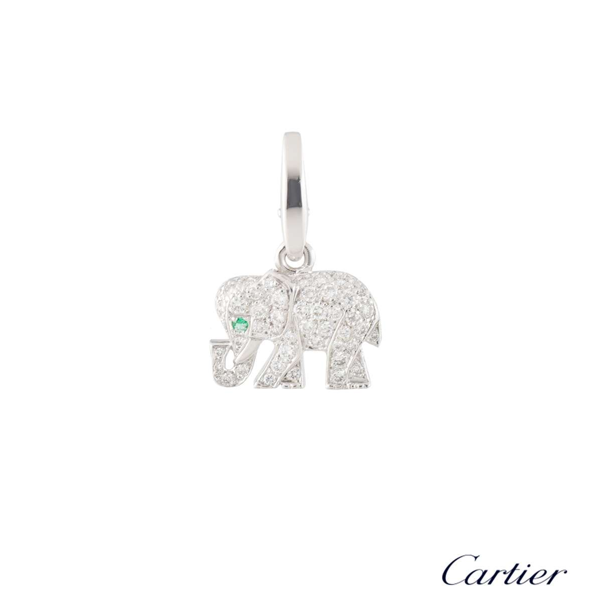 Cartier White Gold Diamond Elephant Charm